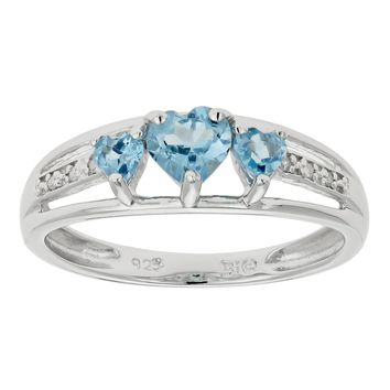 .90 Ct Triple Heart Natural Blue Topaz .018 cttw Diamond 925 Sterling Silver Ring