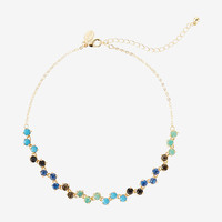 Zigzag Multicolor Stone Choker Necklace