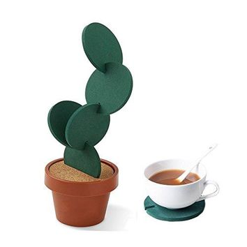 Cactus Coasters Set of 6 with Pot Shaped Holder Prevents Table Damage and Spill Gift ideal for Home and Office