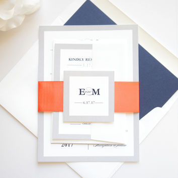 Modern Coral and Navy Wedding Invitation - SAMPLE SET