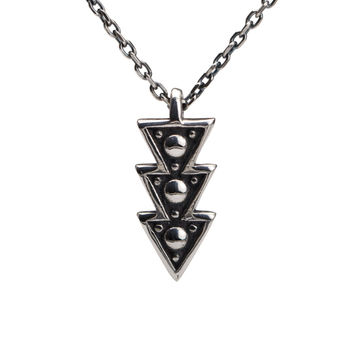 Triangle Arrow Necklace Sterling Silver Charm Boho Jewelry - Moon Dots Collection - FPE019