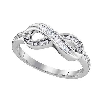 10kt White Gold Women's Round Baguette Diamond Infinity Ring 1/5 Cttw - FREE Shipping (US/CAN)