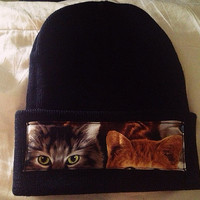 Cat Beanie by HouseOfBalloonss on Etsy
