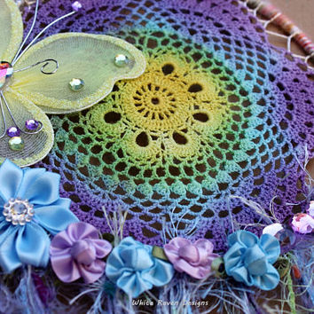 Boho Gypsy Lace Doily Dreamcatcher - Wall Art - Decor Item - Pretty purple and yellow with butterfly and flowers - Handmade in Australia