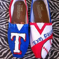 Texas Rangers Hand Painted TOMS