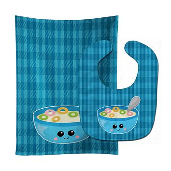 Blue bowl of Cereal Baby Bib & Burp Cloth BB6845STBU