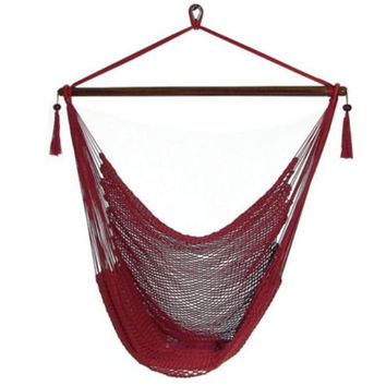Caribbean Extra Large Red Hanging Hammock Swing Swinging Chair Indoor or Outdoor Use