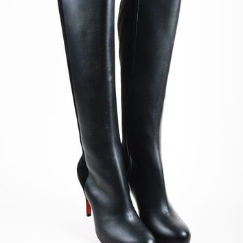DCCK Black Christian Louboutin Leather Suede Knee  Acheval 85  Boots
