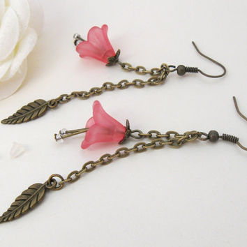 Sakura earrings, pink flowers and bronze leaves