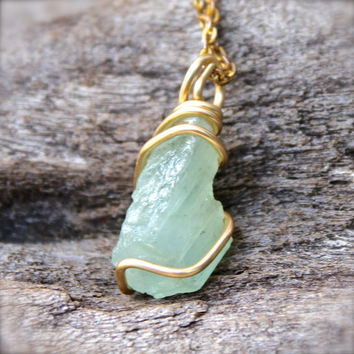 Natural Aquamarine Necklace - Raw Stone Jewelry - Rough Aquamarine Jewelry - Wire Wrapped Stone Necklace - Boho Jewelry - Bohemian Necklace