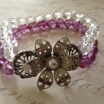 Victorian Inpsired, Pretty Flower Bracelet, Garden Bracelet, Purple Bracelet, Filigree Bracelet, Filigree Flower, Stretch Bracelet