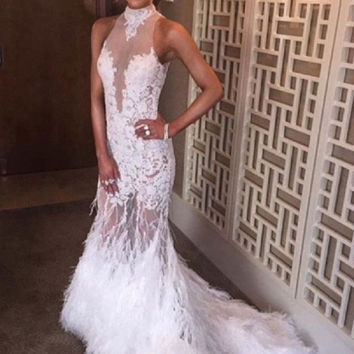 2016 Sexy Halter Feather Prom Dresses See Through Lace Applique Off White Backless Formal Party Gowns Handmade robe de soiree