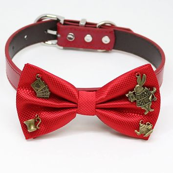 Red Dog bow tie collar, Four Charms(Alice In Wonderland and White Rabbit), Birthday, Pet Wedding