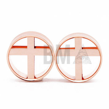 Cross Rose Gold Steel Tunnels Plugs (6mm-25mm)