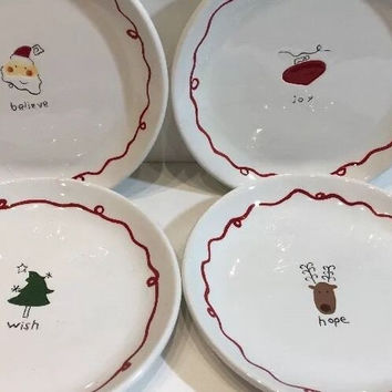Williams Sonoma 4 Pc Assort X-mas Holiday Dessert Plates Believe Hope Wish & Joy