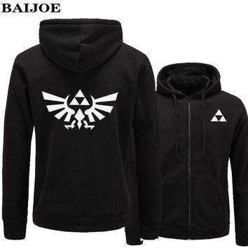 BAIJHOE High Quality The Legend of Zelda Link Hoodies Men Thicken Hoodie Women Anime Zipper Sweatshirt Casual Hip Hop Hoodied