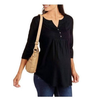 Faded Glory Maternity 3/4 Sleeve Woven Peasant Tunic, Small, Black