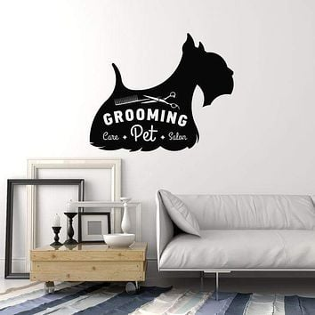 Vinyl Wall Decal Grooming Pet Care Beauty Salon Dog Art Decor Stickers Mural (ig5272)