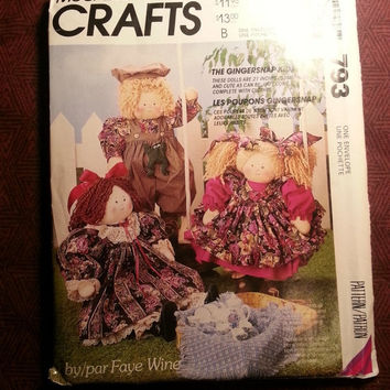 "Uncut 1992 McCall's Sewing Pattern, 793! The Gingersnap Kids/21"" Dolls/Stuffed Dolls/Doll Clothes/Victorian Girl/Country Girl/Boy/Crats"