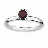 Sterling Silver High Round Rhodolite Garnet Ring