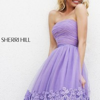 Strapless Knee Length Dress by Sherri Hill
