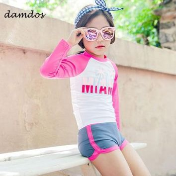 Bikini Kids Swimsuit Swimwear Children With Sleeves Two Piece Beach Dress Boys Girls Summer Clothes Swimwear Kids Baby Clothes