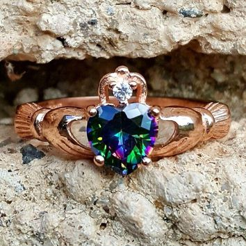 .925 Sterling Silver Rose Gold Rainbow Mystic Topaz Claddagh Ring Size 4-10 Ladies and Girls