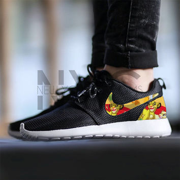 Nike Roshe Run Black Lion King Simba & Nala Custom