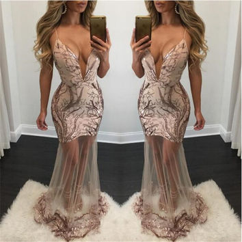 sexy new year christmas party culbwear lady deep v-neck backless sequins Splice straps floor length womens dresses tops outfits