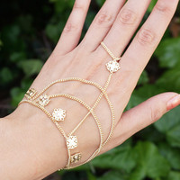 Gold Hand Chain, Slave Bracelet, Gold Hand Chain Bracelet, Gold Slave Ring, Ring Bracelet, Hand Piece