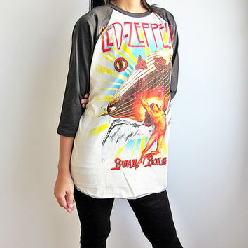 Led Zeppelin Swan Song Heavy Metal Hard Rock Baseball T Shirt Raglan Long Sleeve Size XL
