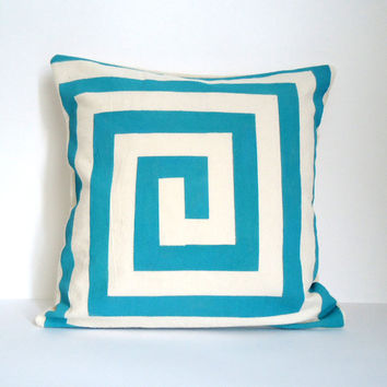 Hand Painted Graphic Lines Cushion Blue by ChiChiDee on Etsy