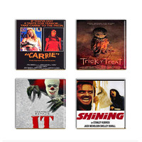 Horror Movie Coasters It Steven King Shining  Ceramic Drink Tile Coasters Set Four