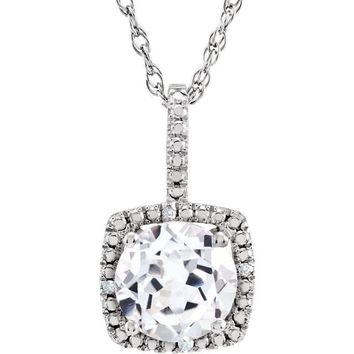 "Sterling Silver 7mm White Sapphire & .015 CTW Diamond 18"" Halo-Style Necklace"