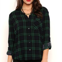 Long Sleeve Hunter Plaid Button Front Top with Pocket