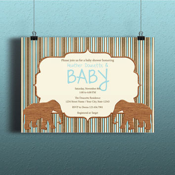 Instant Download-Wooden Elephants Blue Brown Stripes DIY Printable Birthday Party Baby Boy Shower Wedding Bridal Invitation Template