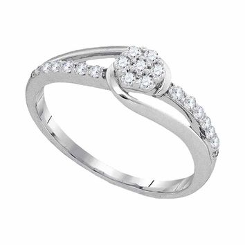 10kt White Gold Womens Round Diamond Flower Cluster Slender Ring 1/4 Cttw