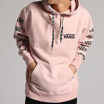 VANS 2018 tide brand men's and women's armband string tag hoodie sweater F-AA-XDD Pink