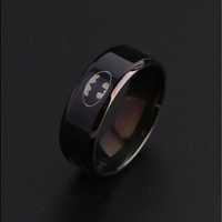 8MM Men's Black Titanium Batman Symbol Wedding Band Batman Tungsten Ring 8MM