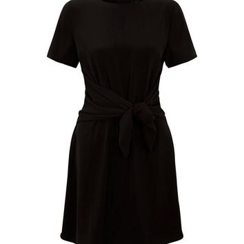 Black Tie Front A Line Dress