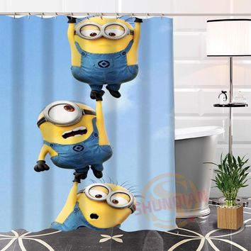 100% Polyester Custom Popular Minion#2 Fabric Modern Shower Curtain bathroom Waterproof New arrival H0223-18