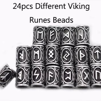24pcs Top Silver Norse Viking Runes Charms Beads Findings for Bracelets for Pendant Necklace for Beard or Hair Vikings Rune Kits