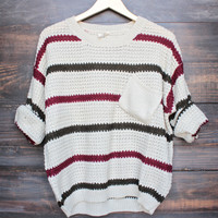 chunky oversized stripe knit boyfriend sweater in beige