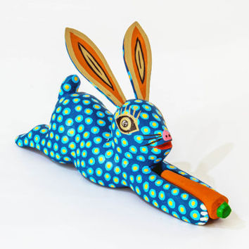 Mexican Folk Art - Woodcarving - Little Blue Rabbit by Juventino & Aurelia Melchor