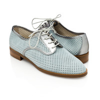 Lesly Derby Serenity Blue for Women - Made in Italy