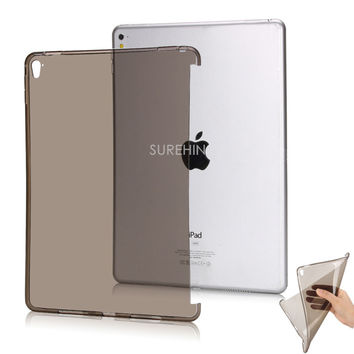 Good Clear flexible tpu silicone bottom back case for apple ipad pro 12.9 9.7 mini 1 2 3 cover case protect smart cover partner