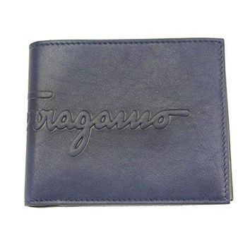 Ferragamo Men's Navy Leather Bifold Wallet 66 0682
