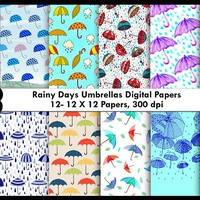 Rainy Days Umbrellas Digital Paper