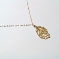 Gold Peacock Charm Necklace, Peacock Charm Necklace, Bird Feather Necklace