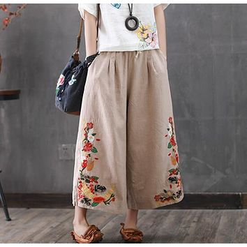 Japanese flower embroidery linen wide leg pants pocket casual pants mori girl 2017